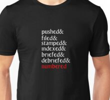 The Prisoner - 'Pushed, Filed and Stamped' T Shirt Unisex T-Shirt