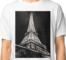 Eiffel Tower Night Black and White Classic T-Shirt