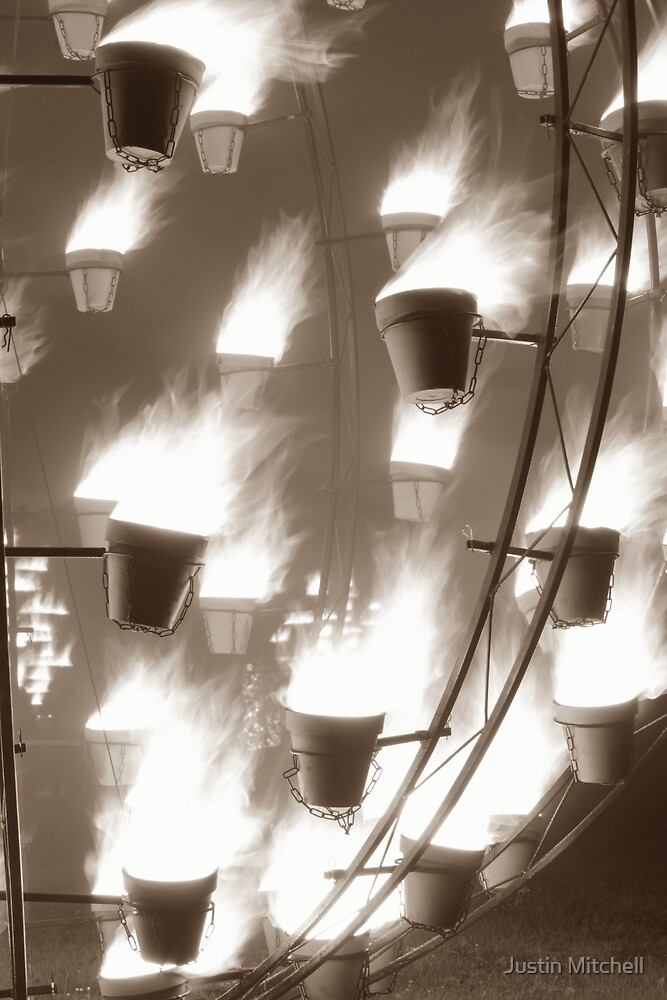 Flaming Sepia Pots by Justin Mitchell