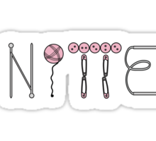 Knitter written with knitting supplies in pink and grey Sticker
