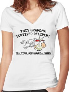 """New Granddaughter """"This New Grandma Survived Delivery..."""" Women's Fitted V-Neck T-Shirt"""