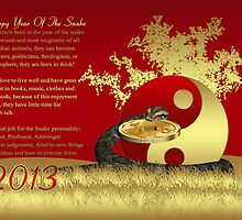 Year of the snake, Chinese New Year Greeting Card Yin And Yang by Moonlake