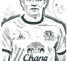 Tim Cahill Everton Pencil Ink Sketch by chrisjh2210