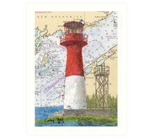 Cape Spencer Lighthouse NB Canada Chart Cathy Peek Art Print