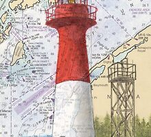 Cape Spencer Lighthouse NB Canada Chart Cathy Peek by Cathy Peek