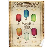 Legend of Zelda The Rupees Geek Line Artly Poster