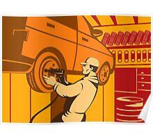 Mechanic Automotive Repairman Retro Poster