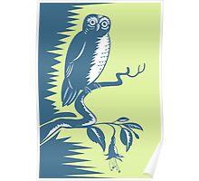 Owl on Branch Retro Poster