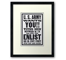 US Army Wants You -- WWI  Framed Print