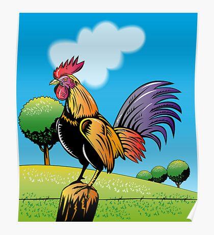 Rooster Cockerel Crowing Retro Poster
