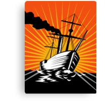 Sailing Ship Retro Woodcut Canvas Print