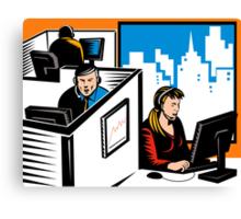 Telemarketer Office Worker Retro Canvas Print
