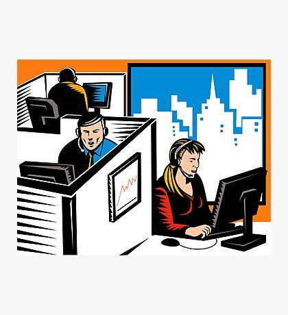 Telemarketer Office Worker Retro Photographic Print