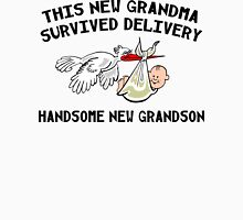 "New Grandson ""This Grandma Survived Delivery..."" Womens Fitted T-Shirt"