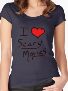 i love halloween scary movies  Women's Fitted Scoop T-Shirt