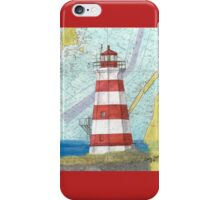 Brier Island Lighthouse NS Canada Nautical Map Cathy Peek iPhone Case/Skin