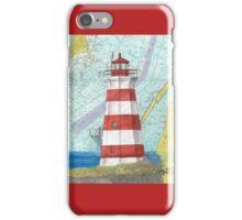 Brier Island Lighthouse NS Canada Nautical Map Cathy Peek iPhone Case/Skin