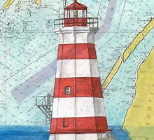 Brier Island Lighthouse NS Canada Nautical Map Cathy Peek by Cathy Peek