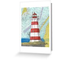 Brier Island Lighthouse NS Canada Nautical Map Cathy Peek Greeting Card