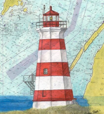 Brier Island Lighthouse NS Canada Nautical Map Cathy Peek Sticker