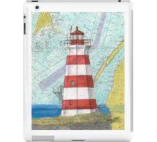 Brier Island Lighthouse NS Canada Nautical Map Cathy Peek iPad Case/Skin