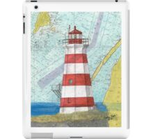 Brier Island Lighthouse NS Canada Nautical Map Cathy Peek iPad Case/Skin