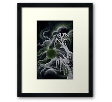 Tree in Green Moonlight Framed Print