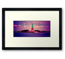 Sunset Over Miss Liberty Framed Print