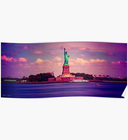 Sunset Over Miss Liberty Poster