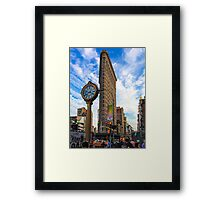 Flatiron On Blue Clouds Framed Print