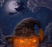 Halloween ominously grinning pumpkin in a witch's hat by kylmaviha
