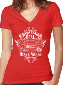 I Remember REAL Heavy Metal Women's Fitted V-Neck T-Shirt