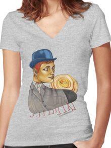 Snailapillar Women's Fitted V-Neck T-Shirt