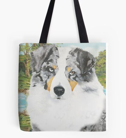 Rowdy ~ Australian Shepherd ~ Oil Painting Tote Bag