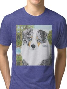 Rowdy ~ Australian Shepherd ~ Oil Painting Tri-blend T-Shirt