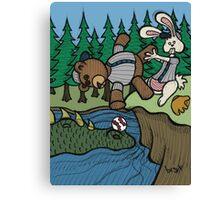 Teddy Bear And Bunny - The Baseball Canvas Print