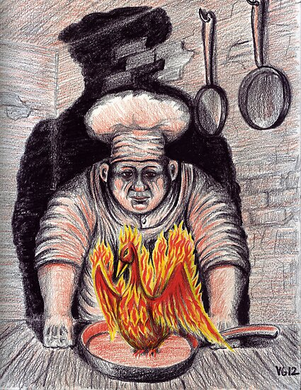 Frying Phoenix ink and colored pencil drawing by Vitaliy Gonikman