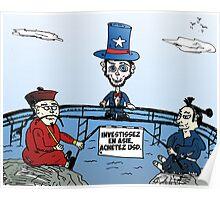Caricature pour investir en Asie avec USD Poster