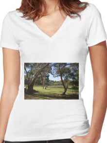 Vineyard scene Women's Fitted V-Neck T-Shirt