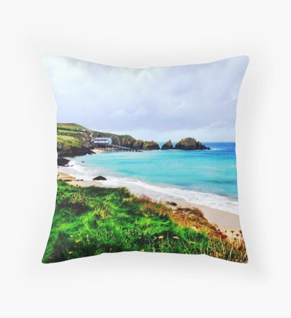 Lifeboat Station in Cornwall Throw Pillow