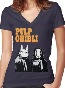 Pulp Ghibli - Studio Ghibli and Pulp Fiction Women's Fitted V-Neck T-Shirt