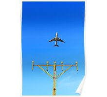 Plane fly up over take-off runway from airport at daytime Poster