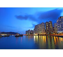 Hong Kong downtown at night Photographic Print