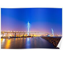 Hong Kong bridge at cargo terminal at night Poster