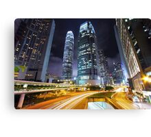 Traffic through downtown of Hong Kong at night Canvas Print