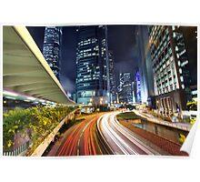 Busy traffic in Hong Kong at night Poster