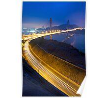 Ting Kau Bridge at night along the highway in Hong Kong Poster