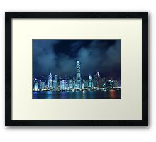 Hong Kong skyline in cyber toned at night Framed Print