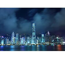 Hong Kong skyline in cyber toned at night Photographic Print