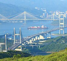 Three famous bridges in Hong Kong at day by kawing921